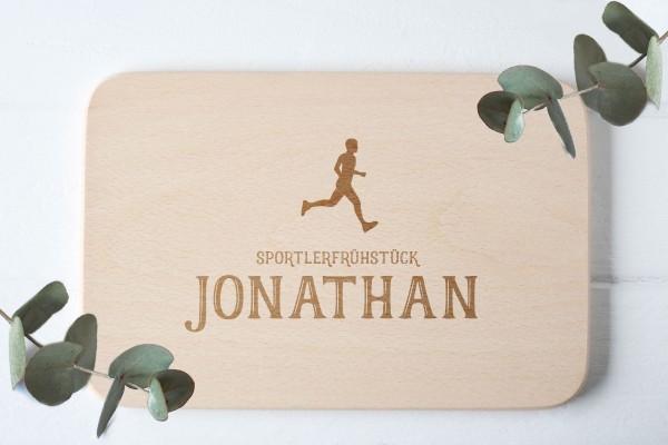 Frühstücksbrettchen mit Läufer Sportler und Namen