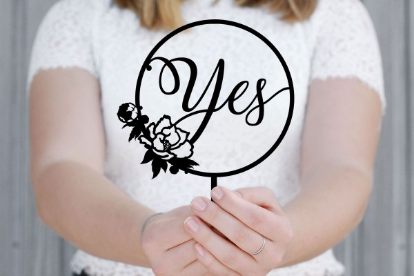 Cake Topper Yes Lettering Boho mit Rose