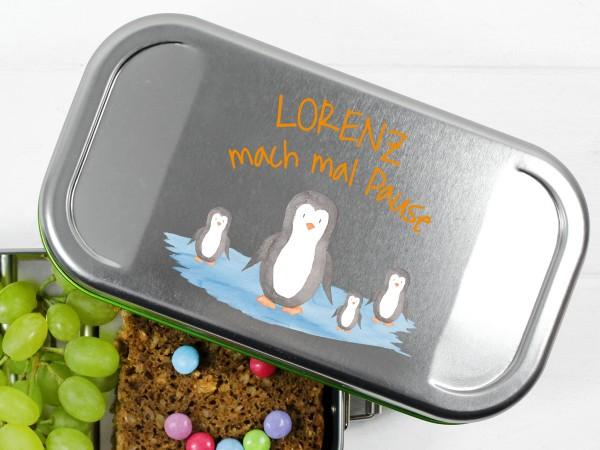 Pinguin Pausenbox mit Namen
