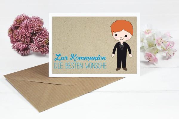 Glückwunschkarte zur Kommunion für roter Frisur Jungs