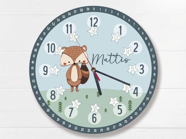 Kinder-Lernuhr mit 12/24 Stunden und Minuten mit Motiv Waschbär und Namen personalisiert