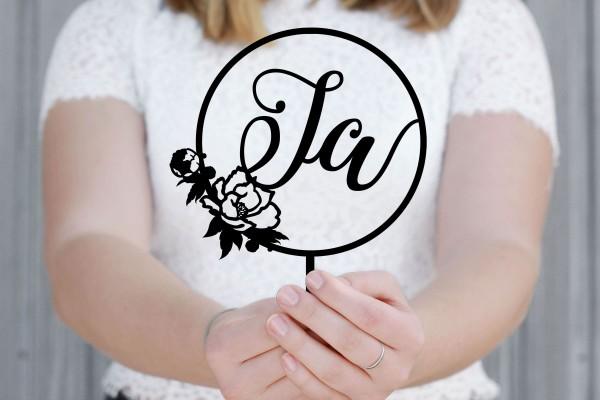 """Cake Topper """"Ja"""" zur Hochzeit mit Blumen"""