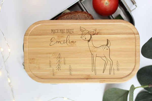 Nachhaltige Brotdose Name auf Lunchbox mit Bambusdeckel Reh Bambi