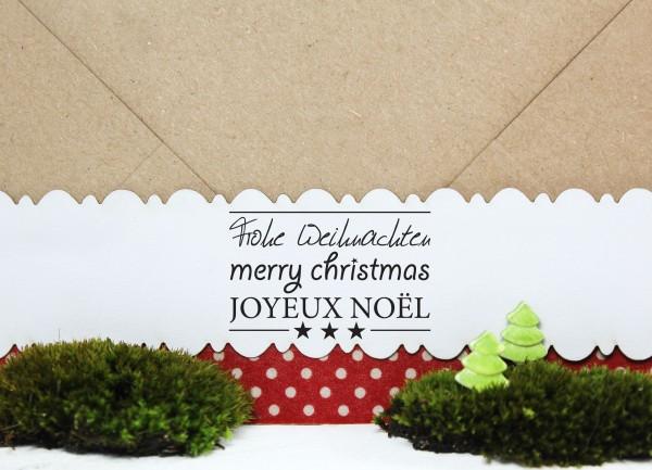 """Textstempel """"Frohe Weihnachten - Merry Christmas - Joyeux Noe"""""""