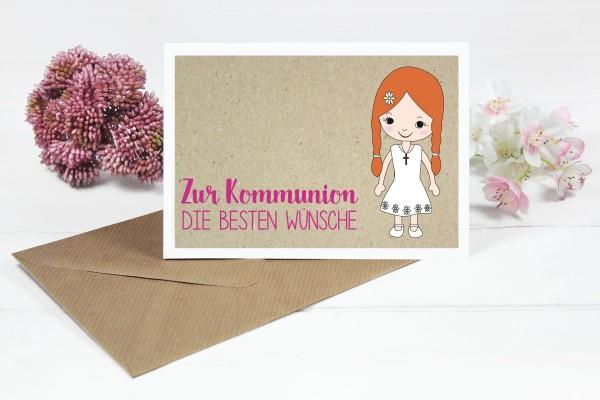 Glückwunschkarte zur Kommunion für Mädchen mit orangen Zöpfen