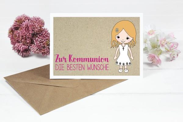 Glückwunschkarte zur Kommunion für Mädchen mit blonden Haaren