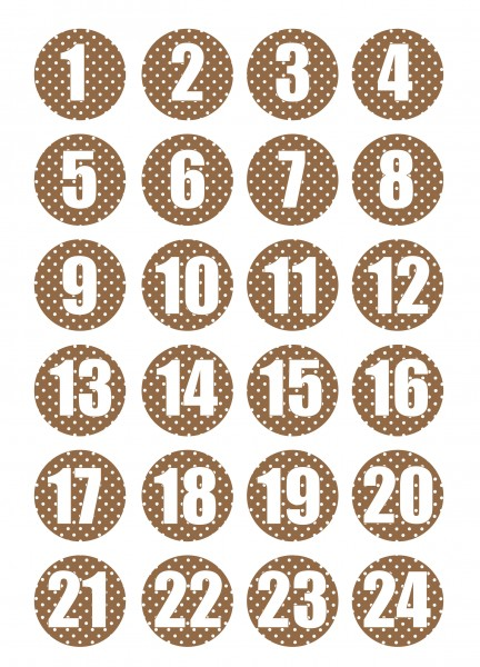 Adventskalender Sticker - Polka Dot Weiß/Braun