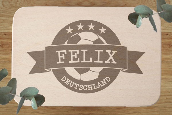 Grillbrett zum Geburtstag oder Jubiläum Fussballfan Weltmeister mit Name