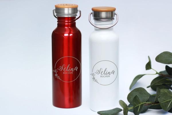 Edelstahltrinkflasche mit Gravur Logo