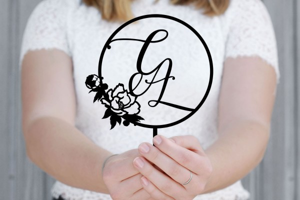 Cake Topper Buchstaben Initialen Lettering mit Rose personalisiert