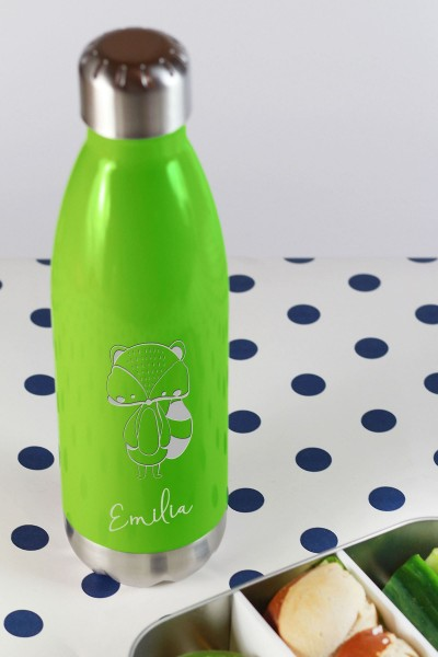Trinkflasche Edelstahl mit Namen vakuumisoliert Waldtier Babys
