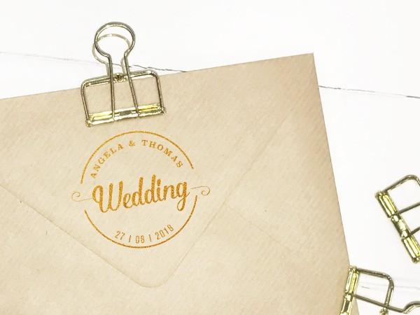 Hochzeitsstempel Holzstempel rund 3-zeilig