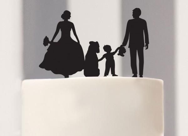 Cake Topper Brautpaar mit Kind und Hund als Silhouette