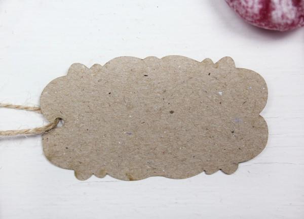 50 Stück Geschenkanhänger - antike Form gewellt