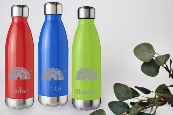Trinkflasche Edelstahl mit Namen vakuumisoliert Regenbogen
