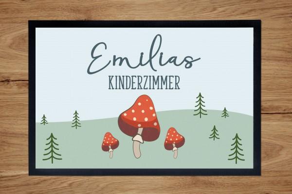 Fußmatte oder Spielmatte mit Motiv Fliegenpilz und Namen personalisiert