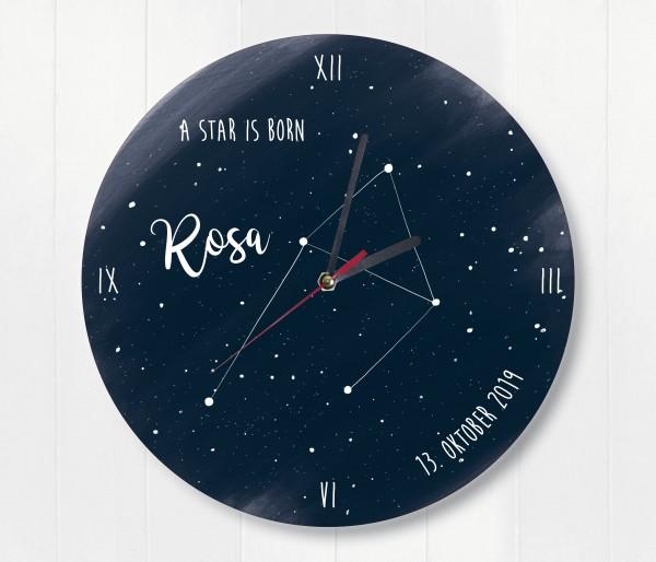 Sternzeichen Sternenhimmel Uhr mit Name und Datum Waage