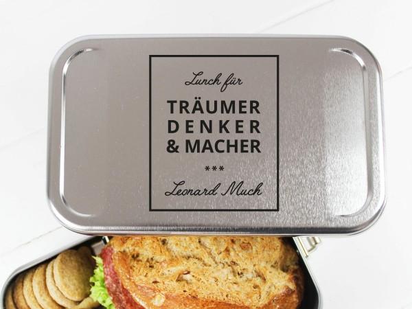Nachhaltige Brotdose mit Name für Denker & Macher