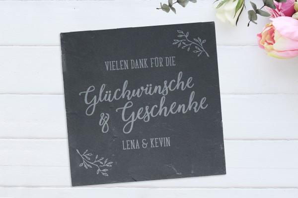 Schiefertafel mit Gravur Hochzeit Willkommen Gäste Tafel