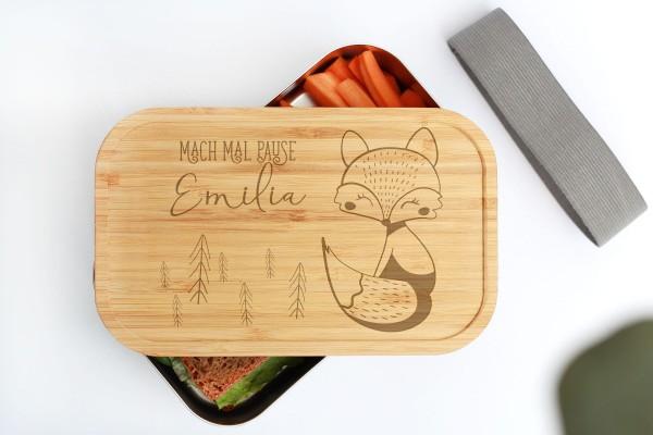 Nachhaltige Brotdose aus Edelstahl mit Bambusdeckel Baby Animal Fuchs