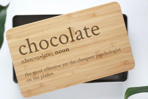 Definition Gebäckdose Chocolate mit Bambusbrettchen