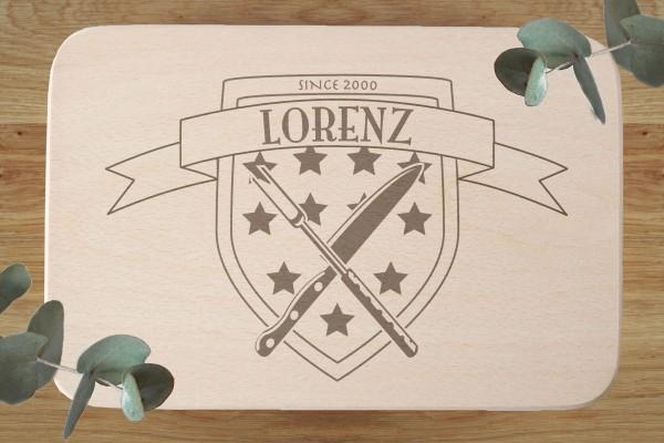 Brettchen Geburtstagsgeschenk mit Namen und Wappen Sterne