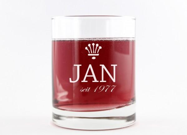 Personalisiertes Whiskeyglas - Name und Jahrgang
