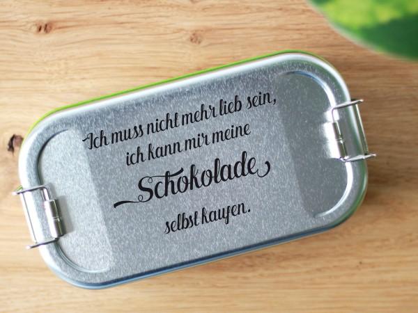 """Brotdose aus Blech mit Trennwand und Spruch Nicht lieb sein..."""""""