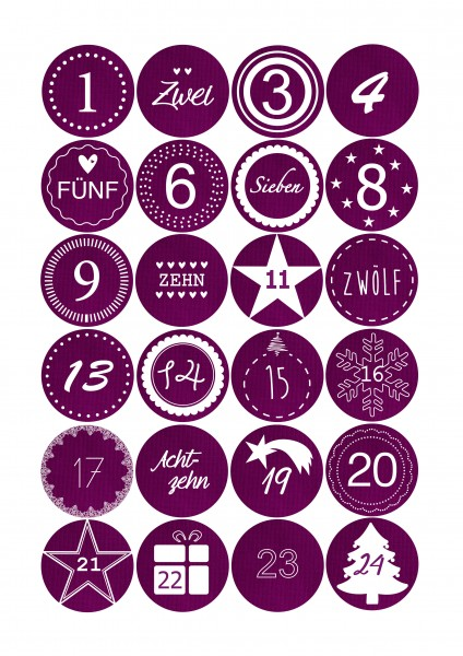Adventskalender Sticker - Stoffoptik Magenta