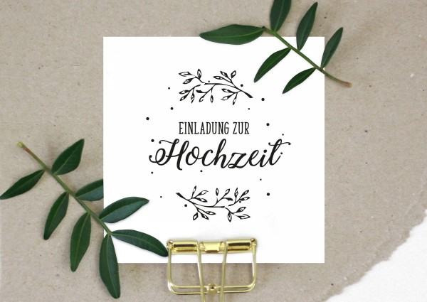 Stempel Einladung zur Hochzeit hendlettert