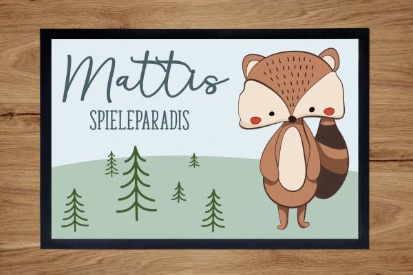 Fußmatte oder Spielmatte mit Motiv Waschbär und Namen personalisiert