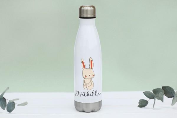 Thermotrinkflasche aus Edelstahl mit Hase und Namen, weiße Flasche, farbig bedruckt