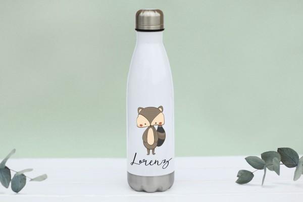 Thermotrinkflasche aus Edelstahl mit Waschbär und Namen, weiße Flasche, farbig bedruckt