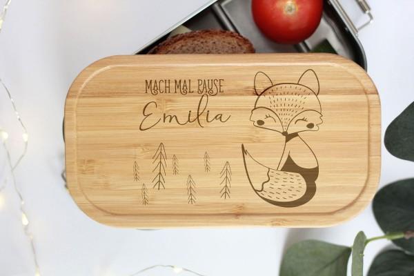 Nachhaltige Brotdose Name auf Lunchbox mit Bambusdeckel Waldtier Baby Fuchs
