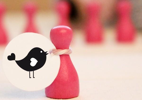Vogel mit Herz - verliebter Vogel Motivstempel
