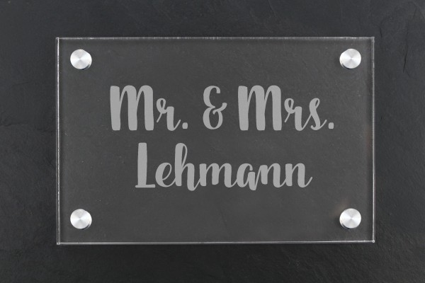 Acrylschild für Haustür Mr & Mrs