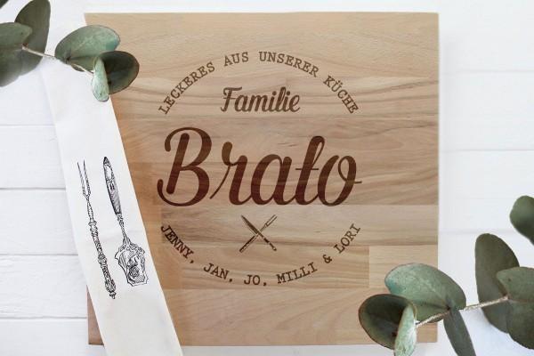 Schneidebrett Grillbrett Familiengeschenk Wappen Familienlogo
