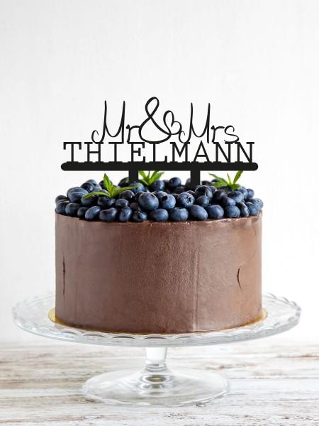 Cake Topper Mr & Mrs mit Nachname personalisiert