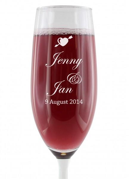 Sektglas - zur Hochzeit personalisiert
