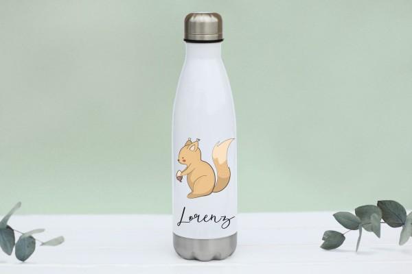 Thermotrinkflasche aus Edelstahl mit Eichhörnchen und Namen, weiße Flasche, farbig bedruckt