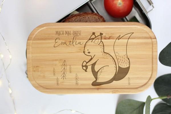 Nachhaltige Brotdose Name auf Lunchbox mit Bambusdeckel Waldtier Baby Eichhörnchen