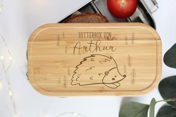 Nachhaltige Brotdose Name auf Lunchbox mit Bambusdeckel Waldtier Baby Igel