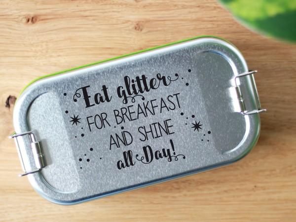 Brotdose aus Blech mit Trennwand und Spruch Eat glitter for