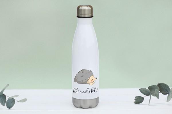 Thermotrinkflasche aus Edelstahl mit Idel und Namen, weiße Flasche, farbig bedruckt