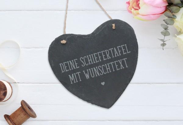 personalisierte Wanddekoration Schiefer Herz mit Wunschgravur