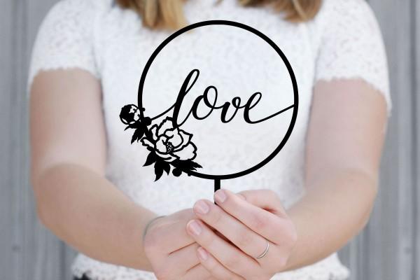 Cake Topper love Lettering Boho mit Rose