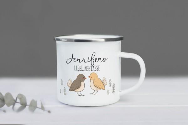 Emaille Tasse Vögelchen mit Namen personalisiert