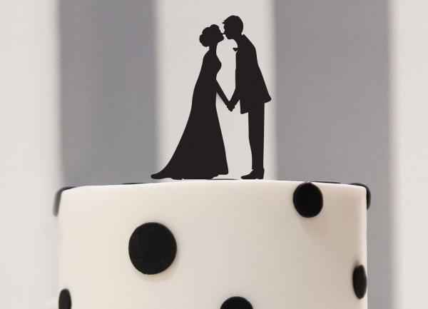 Cake Topper küssendes Brautpaar als Silhouette