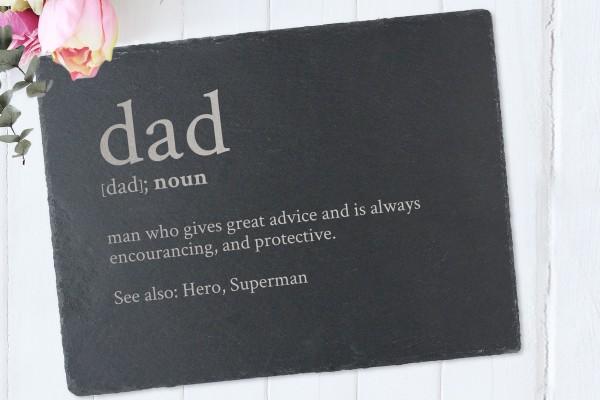 Tischset zum Vatertag Definition Dad aus Schiefer