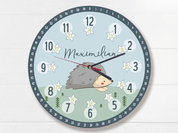 Kinder-Lernuhr mit 12/24 Stunden und Minuten mit Motiv Igel und Namen personalisiert